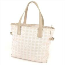 Chanel Tote bag New travel line Beige Nylon jacquard Woman Authentic Used T7465