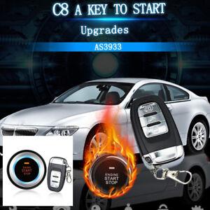 C8 Car Security Alarm System Vibration Alarm Engine Start Push Button Remote Kit