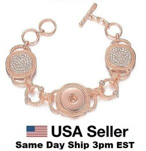 Snap Jewelry Rose Gold Bracelet Rhinestone Toggle Fits 18-20mm Ginger Snap Charm