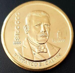 1990 MEXICO $100000 PESOS PROOF! Plutarco E. Calles BRASS COIN 29g. Very Nice!!!