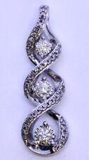Kay 10K Solid White Gold Infinity Twist Knot 3-Stone Round Diamond Slide Pendant