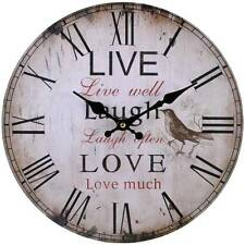 Large Vintage Shabby Chic Style Live Laugh Love Kitchen Wall Clock Wooden Bird