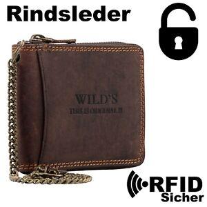 RFID Herren Portemonnaie aus Leder mit Kette Reißverschluss Querformat 5165C DB