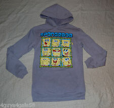 Boys Sweatshirt GRAY SPONGEBOB PULLOVER HOODIE W/ POUCH POCKET Extra Long M 8