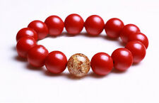 8mm Red Cinnabar Beads Bracelet with Gold Foil Bead