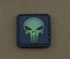 """PVC / Rubber Glow in the Dark Patch """"Punisher"""" with VELCRO® brand hook"""