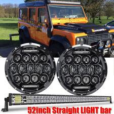 52inch Straight LED Light bar + 2pcs LED Headlight for Roof Land Rover Defender