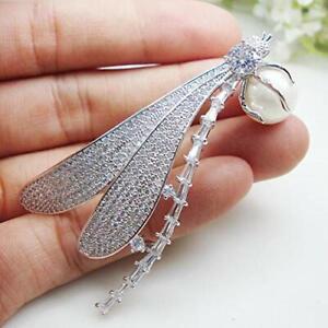 Charming Zircon Crystal Dragonfly Pearl Woman Brooch Pin Holiday Gifts 2