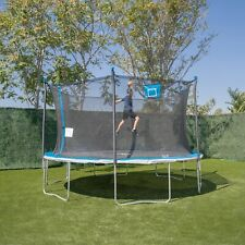 Bounce Pro 14ft Trampoline And Enclosure With Basketball Hoop, Blue