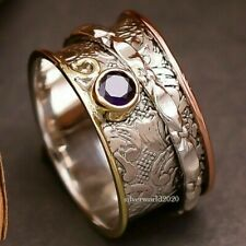 GIFTS FOR HER-size N AMETHYST Spinner-Anxiety Ring Sterling SILVER 925 Handmade