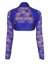 Womens Ladies Long Sleeved Floral Lace Bolero Shrug Crop Top Cardigan Size 8-26