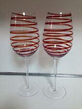 "RED SWIRL WINE GLASS BEAUTIFUL! 2-TOTAL - 10-1/4"" TALL"