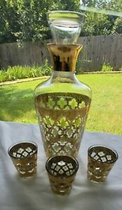 Vintage Culver Valencia Gold and Green Decanter with Stopper, and 3 Shot Glasses