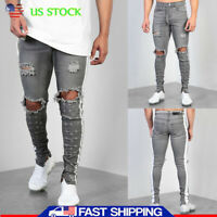 Mens Ripped Skinny Jeans Slim Fit Stretch Denim Trousers Distressed Casual Pants