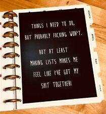 """""""S**T Together"""" MatureLanguage Two-Sided Dashboard for use with Happy Planner"""