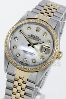 Rolex Mens Datejust Y Gold & Steel MOP Diamond Dial & Bezel Jubilee Quickset