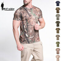 Mens Military Combat T-Shirt Short Sleeve Tactical Army Summer Casual Camouflage