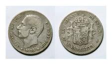 ESPAÑA. ALFONSO XII.  1 PESETA 1883*--83 MSM.    RAYITAS.   BC+/MBC-