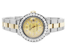 Ladies Two Tone 18K/ Steel Rolex Datejust Oyster String Dial Diamond Watch 4 Ct