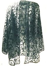 Vintage 1920s Style Evening Black Velvet Burnout Floral Open Jacket Size M L