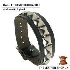 New Adjustable Punk Gothic Handmade Small Pyramid Leather Cuff Wristband UK Made