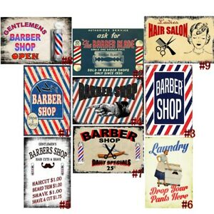 Barber Shop Open Retro Metal Tin Signs Vintage Plate Laundry Art Wall Decor