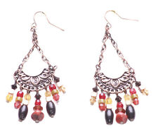 Classic, Arched Boho Metal Danglers/multiple Colour Beads (Zx72)