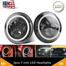 "2pcs DOT 7"" Inch Round LED Headlight DRL Signal Light For Jeep Wrangler 07-18 JK"