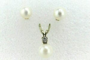 Cultured White Akoya PEARL PENDANT AND EARRING SET REAL SOLID 14 k GOLD 1.9 g
