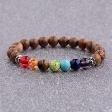 7 Chakra Sandalwood Wooden Beads Fashion Beaded Mens Reiki Healing Bracelets