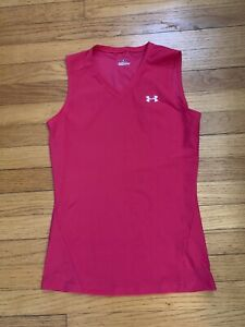 ~ Under Armour HeatGear Pink Polyester Stretch V-Neck Tank Top * Size Large