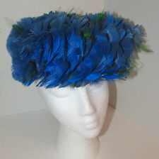 Vintage Blue & Green Feather Pillbox Top Hat Women's Size Small Church Wedding