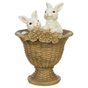 """Raz Imports Enchanted Easter 11.5"""" Bunnies In Footed Urn"""