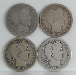 1901 1902-O 1914 & 1915-S Barber Silver Quarter Dollar 25 Cents 4 Coin Lot C2538