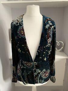 East Teal Blue Flower Print Velvet Silk Blend Blazer Jacket Size 18