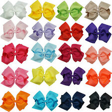 Girls Double New Design Big Hair Bows Grosgrain Ribbon Alligatir Clips 6 Inch