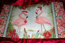 TWO TROPICAL PINK FLAMINGO REDS, CHRISTMAS SANTA HATS, ORNAMENTS DOOR MAT RUG