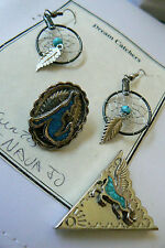 Hndcrafted silvertone Crushed Turquoise Dream catcher earrings belt tip tack lot