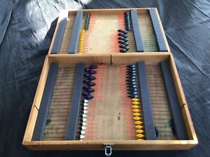 Wooden float box with 88 new pole floats course pole match fishing