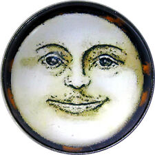 Crystal Dome Button Lg Sz Vintage Full Moon Face HW 44
