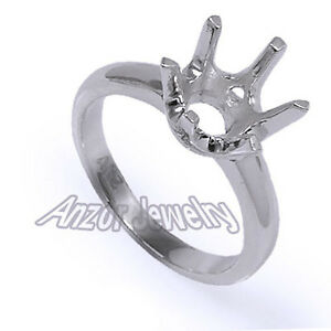 Six-Prong Ring Mounting 5.0gr 18k White Gold Ideal for 9.0mm to 10.75mm #R1652