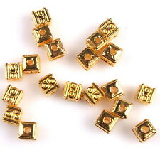 80x 113354 New Charms Gold Plated Square Alloy Spacer Beads Fit Bracelets Craft