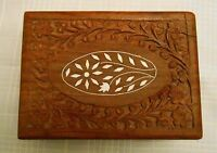 Jewelry Trinket Box Hand Carved Wood with White Inlay carved flowers vintage
