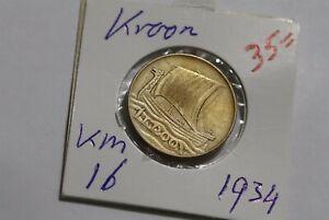 ESTONIA 1 KROON 1934 B38 P29