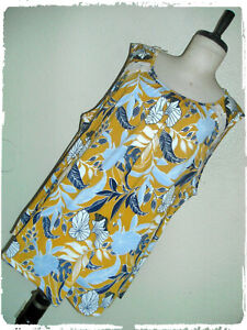 Siren Lily Mustard Floral Leaf Print Lace Accent Tank Blouse 3X