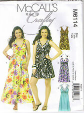 Sleeveless Flared V Neck Empire Waist Dress McCalls Sewing Pattern 4 6 8 10 12
