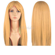"""Womens 18"""" Full Long Fancy Dress Wigs Straight Cosplay Costume Ladies Wig Party Pink"""