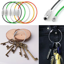 5pcs Stainless Steel Wire Keychain Cable Screw Clasp Key Ring For Outdoor Hiking