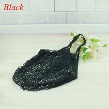 Reusable Fruit String Grocery SHOPPER Cotton Tote Mesh Woven Net Bag Pouch Black