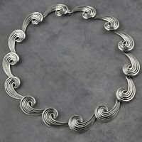 Taxco Mexican Sterling Silver Wave Necklace